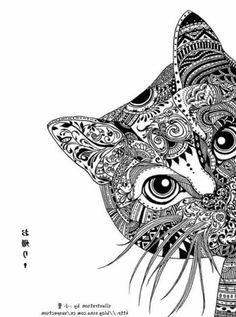 mandalas en blanco y negro gato - Buscar con Google