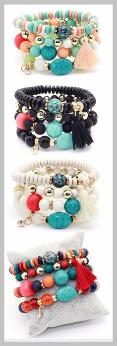 multi-layer bead bracelet with crystals