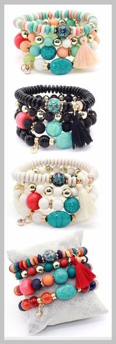 66f36808a64a multi-layer bead bracelet with crystals Combinación De Pulseras