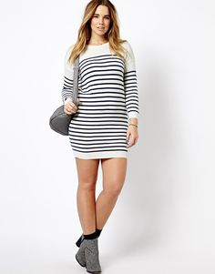 ASOS CURVE - Jumper Dress In Breton Stripe With Elbow Patches
