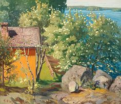 Helmi Biese (Finnish, 1867 - A sunny day in June (via Bukowskis) North Europe, Realistic Paintings, Sunny Days, Finland, Photo Art, Contemporary Art, Helmet, Artsy, Landscape