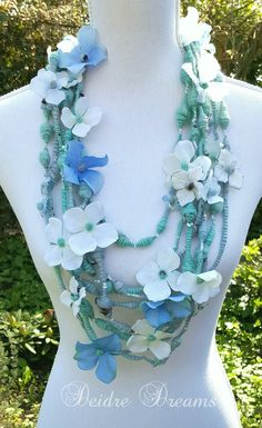 Overview of Flower Art Yarn Necklace Shown on Mannequin