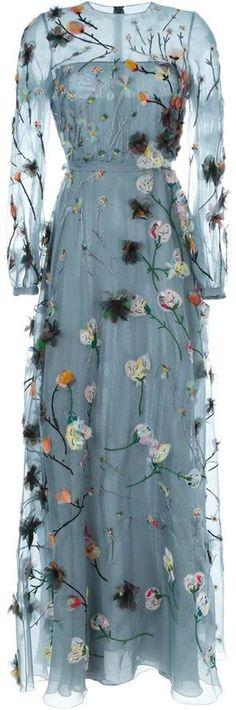 Valentino floral applique evening dress