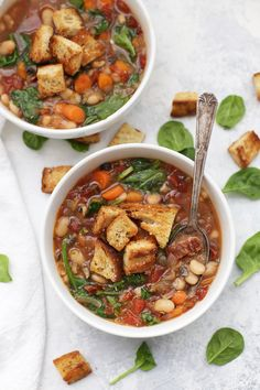 Sun-Dried Tomato and White Bean Soup - This savory soup comes together in no time, but thanks to several layers of flavor, it tastes like it simmered all day.
