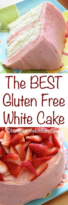 "The BEST Gluten Free White Cake doesn't taste ""gluten free"" at all! get the recipe at http://barefeetinthekitchen.com"