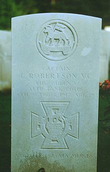 Capt. Clement Robertson VC - 3rd Bn Queen's (Royal West Surrey) Rgt; att'd Tank Corps. Citation London Gazette 14.12.1917 for 4.10.1917 at Zonnebeke, Belgium.  KIA at Zonnebeke, he is believed to be buried in Oxford Road Cemetery, Ypres, Belgium - Plot II F.7.