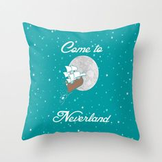Disney's Peter Pan Come to Neverland in Teal Pillow by foreverwars, $45.00