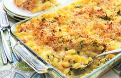 Easy and delish! Mac and Cheese with Creamy Cauliflower Sauce and Ham