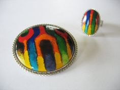 Vintage Psychedelic Brooch and Ring Set 1970's Rainbow Abstract Silvertone Adjustable