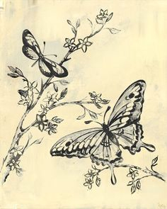 Toile Butterflies - Cream & Black - Canvas Reproduction (Would want different color combo)