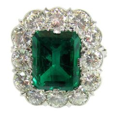 Buccellati Rare Russian Emerald Diamond Platinum Ring   From a unique collection of vintage more rings at https://www.1stdibs.com/jewelry/rings/more-rings/