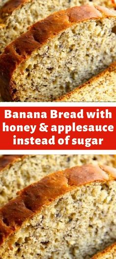 Banana Bread with honey and applesauce instead of sugar & oil. Delicious & Healthy // Banana Bread with honey and applesauce instead of sugar & oil. Weight Watcher Desserts, Weight Watcher Banana Bread, Weight Watchers Meals, Weight Watchers Recipes With Smartpoints, Weight Watchers Free, Skinny Recipes, Ww Recipes, Cooking Recipes, Healthy Recipes