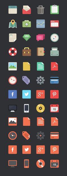 Free download: 48 flat designer icons