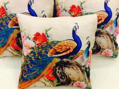 Set Of 5 Charming Premium Jute Cushion Covers from Stf Store Boho Chic Living Room, Decor Home Living Room, Cushions For Sale, Printed Cushions, Cushion Covers, Pillow Covers, Peacock Print, Living Room Pictures, Home Decor Items