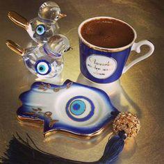 Kütahya Porselen Ömür Tek Kişilik El Yapımı Nazar Boncukllu Kahve Fincan Takımı