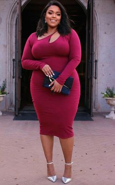 Most Beautiful Plus Size Fashion Outfits Ideas for Women This Year 06 Plus Size Fashion For Women, Plus Size Women, Plus Size Wedding Guest Outfits, Plus Size Dresses, Plus Size Outfits, Xl Mode, Outfit Chic, Fitted Midi Dress, Bodycon Dress