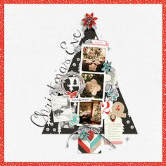 "Gorgeous Christmas Tree Digital Scrapbooking layout  |  Love the use of a flower for a tree star and ""photo"" ornaments!!"