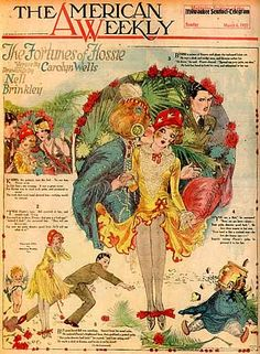 "March 1922 - The American Weekly: cover art by Nell Brinkley famous for the ""Brinkley Girl"""