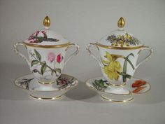 A Fine Pair of Derby Porcelain Chocolate Cups, Covers and Stands, Circa 1795-1800.