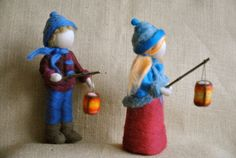 Waldorf inspired needle felted Children :  The Lantern Walk. Made to order