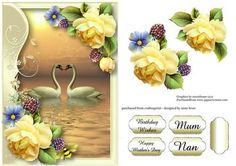 Serene Swans With Soft Yellow Roses on Craftsuprint designed by Anne Lever - This lovely topper features a pair of swans, within a soft frame, embellished with gorgeous soft yellow roses. It has a singe layer of decoupage to add depth, four greetings to choose from and a blank greetings tile. The greetings are birthday wishes, happy mothers day, mum and nan.  - Now available for download!