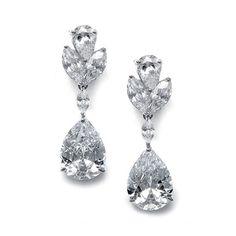 'Lydia' Pear Shaped Cubic Zirconia Drop Earrings - Item No: 301E