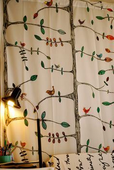 ikea bird curtains with EVERYTHING colored