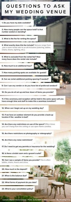 23 Questions to Ask my Wedding Venue