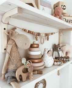 Nursery shelving with gender neutral toys Baby Nursery Decor, Baby Bedroom, Nursery Room, Girl Nursery, Girl Room, Kids Bedroom, Boho Nursery, Gender Neutral Toys, Baby Room Neutral