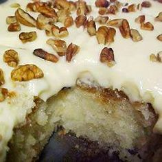 Elvis Presley Cake:  White cake mix  8oz can crushed pineapple  1 c. sugar  8oz pkg Cream Cheese  1/2 c. butter, softened  3 c. powdered sugar  1 tsp. vanilla  2-3 c crushed pecans  Bake a white cake, cool and poke holes in it. Boil crushed pineapple with juice and 1cup of sugar then pour over cool cake. In large bowl mix cream cheese, butter, powdered sugar. Add vanilla and crushed pecans, mix good and put on cake.   This is sooooo good!