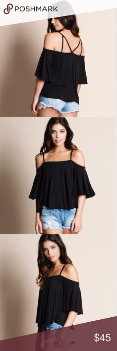 🆕DEBBIE off shoulder flutter top - BLACK Darling & oh so perfect for some fun in the sun! Loose fit flutter sleeve top, cold shoulder. Also available in TAUPE.   🚨PRICE FIRM🚨 Bellanblue Tops Blouses