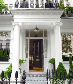 The stately 1860 house is a commanding presence in fashionable South Kensington. James Merrell - HouseBeautiful.com