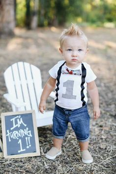 Boys First Birthday Outfit - Baby Boy Clothes - Black Suspenders and Blue Orange Grey White Argyle Bow Tie - Boys Birthday - 1st Birthday - pinned by pin4etsy.com
