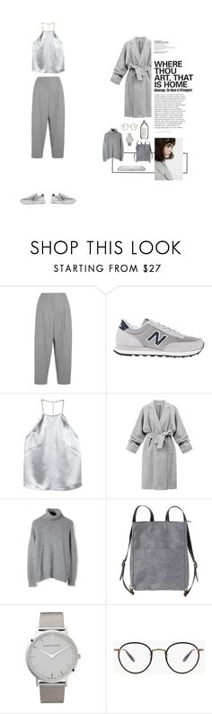 """""""#greyvibes"""" by nudenim ❤ liked on Polyvore featuring Acne Studios, New Balance, H&M, Monki and Larsson & Jennings"""