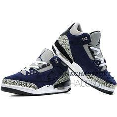 Nike Air Jordan 3 | Classique Chaussure De Basket Homme Bleu Marine Grise