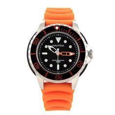 Nautica Men's NMX 650 Black Dial Orange Rubber Strap A18633G Diver's Watch