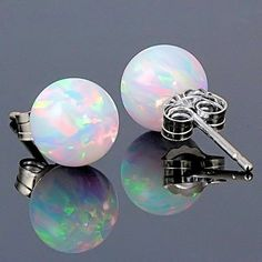 Lorraine: 8mm Australian Fiery White Opal Ball Stud Post Earrings 925 Sterling Silver