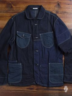 Eternal Patchwork Coverall Jacket - made from three different denim fabrics, each of which has been dyed with a different type of indigo. Denim Dye, Raw Denim, Denim Button Up, Button Up Shirts, Work Jackets, Denim Fabric, Vintage Denim, Denim Fashion, Work Wear