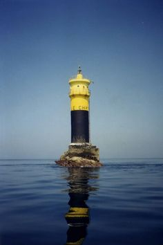 Lighthouses of Iroise. Phare du Chat, Ile de Sein,  exquisite calm sea.   Finistere    Brittany