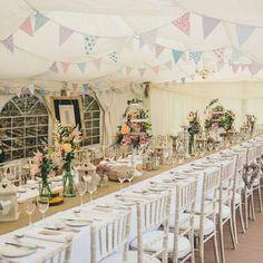 Beautiful rustic marquee wedding #chiavarichairs #hessian #brideandroom