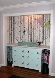 Built In Dresser Changing Station Inside Closet Baby Nursery 2887