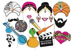 Here is the ultimate collection of Bollywood party photo booth props! Tons of Fun!! Great for a table centrepiece or Photo booth!    Contains 16