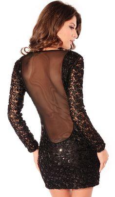 Vestido de fiesta lentejuelas combinado gasa manga larga-Negro EUR€26.85