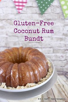 The Bundt Bakers theme for this month is gluten free. This Coconut Rum Gluten Free Bundt has rum in the cake and the soaking syrup.