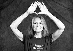 "Gloria Steinem Wearing ""I Had an Abortion"" Shirt Designed by Jennifer Baumgardner (Photo: WFAE)"