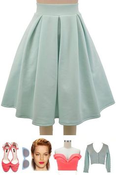 50S Inspired Light Blue Pretty In Pleats High Waisted Full Midi Pinup Skirt