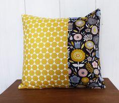 Housse de coussin 40 x 40 cm patchwork Tissus Fleurs et losanges Jaune déco…