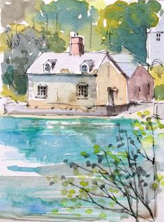 Original Watercolour Painting ACEO -Cornwall Beach - by Annabel Burton