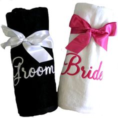 Set of 2 Personalized Beach Towels for Bride by PremiereEmbroidery, $52.95