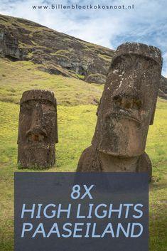 Paaseiland is één van de meest geïsoleerde plekken op aarde. Het ligt op 5 uur vliegen van het vaste land van Chili en is ongeveer even groot als eiland Texel. Paaseiland is een magische plek midden in de Grote Oceaan en dankt zijn naam aan de Nederlander Jacob Roggeveen wie op eerste Paasdag 1722 het eiland ontdekte. In dit artikel nemen we jullie mee naar de highlights van Paaseiland, welke je niet wilt missen tijdens je reis. Countries To Visit, South America, Chile, Mount Rushmore, Travel Inspiration, Travel Tips, Explore, Mountains, Country